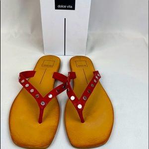 "Dolce Vita ""Stella"" red & silver leather sandal"